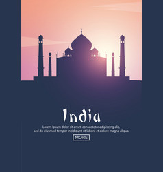 travel poster to india landmarks silhouettes vector image