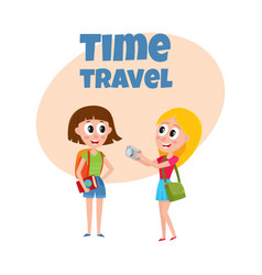 two girls women tourists travelling together one vector image
