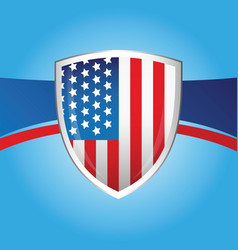 usa flag shield background vector image