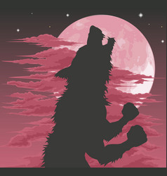 Werewolf silhouette howling at moon vector