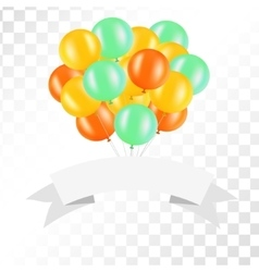 White ribbon with balloons on transparent vector image