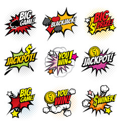 winning game bubble stickers in retro pop vector image