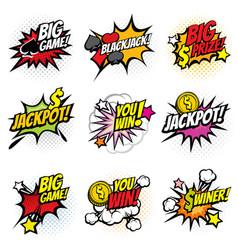 Winning game bubble stickers in retro pop vector