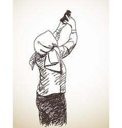 Woman taking photo vector image