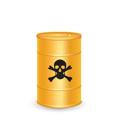 yellow waste barrel vector image