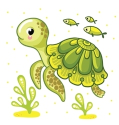 Cute cartoon turtle isolated vector image