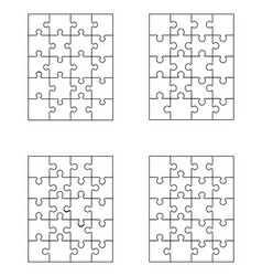 four white puzzles vector image vector image
