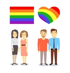 Happy gay lgbt pairs with rainbow flag and vector