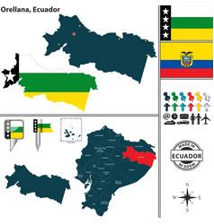 map of orellana ecuador vector image vector image