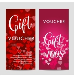 Valentines day gift card voucher template On vector image
