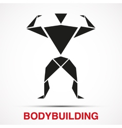 Workout logo with bodybuilder triangle man vector image vector image