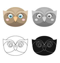 owl muzzle icon in cartoon style isolated on white vector image vector image