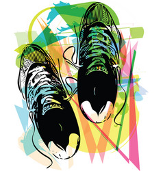 Pair of running shoes laid on abstract background vector