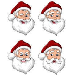 Santa Claus Various Expressions Face Side View vector image