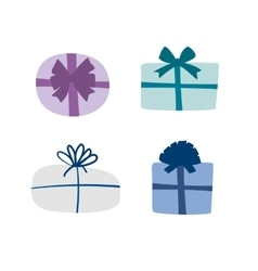 Set of colorful gift boxes with ribbons and vector image