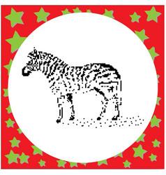 zebra black 8-bit dog standing vector image vector image