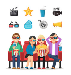 characters set of funny peoples watching film in vector image