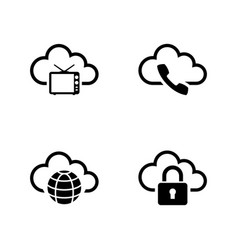 cloud storage simple related icons vector image vector image