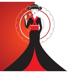 Cute Smiling Asian Girl Character on black kimono vector image vector image