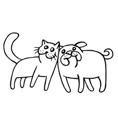 funny cat and dog isolated vector image vector image