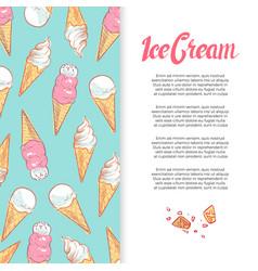 hand drawn ice cream cones banner design vector image