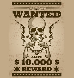 retro wanted poster in wild west thematic vector image
