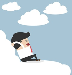 Businessman relaxing on a cloud vector image vector image