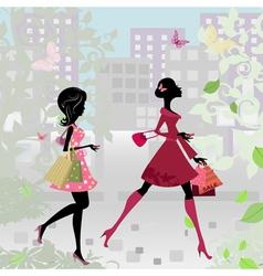 fashion shopping city girls vector image