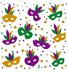 mardi gras pattern of mask with feathers and vector image