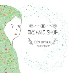 Spa or organic shop banner with girl and nature vector image