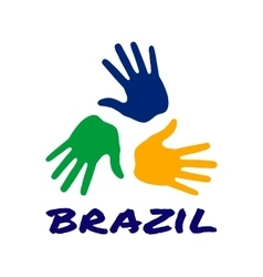 Three hand print icon - brazil flag colors vector