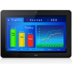 Web site analytics on tablet PC screen vector image
