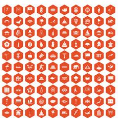 100 asian icons hexagon orange vector