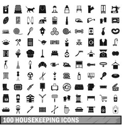 100 housekeeping icons set simple style vector