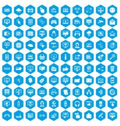 100 internet icons set blue vector image