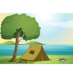 a tree and a tent vector image