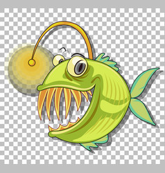 Angler fish cartoon character isolated on vector