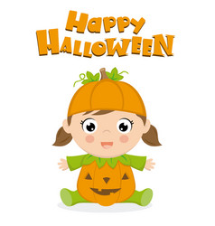Baby girl dressed as a pumpkin for halloween vector