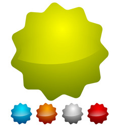 Badge starburst shapes on white in several colors vector