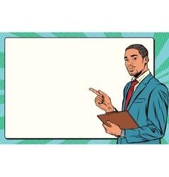 Beautiful black businessman presentation vector