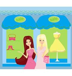 Beautiful girls shopping vector