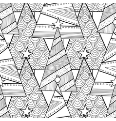 Black and white pattern with Christmas trees for vector image