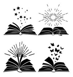 Black books silhouettes vector