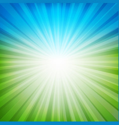 Blue and green sunburst background vector