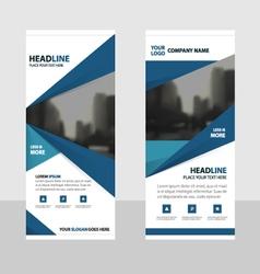 Blue roll up business brochure flyer banner design vector image