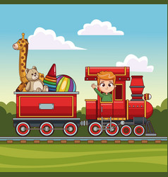 boy driving train with toys vector image