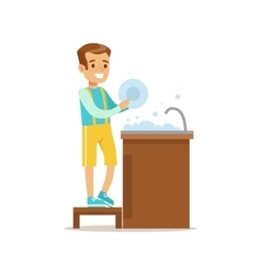 Boy Washing The Dishes Smiling Cartoon Kid vector