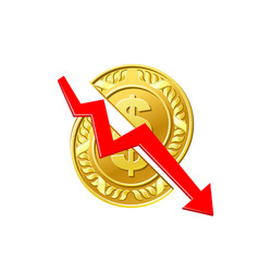 business finance crisis concept gold coin vector image