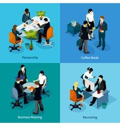 Business People Isometric Icon Set vector image