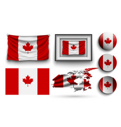 canada flags collection isolated on white vector image
